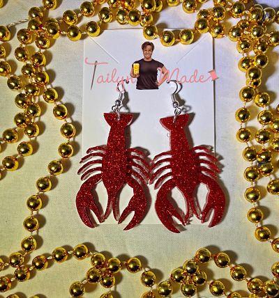 Crawfish Glitter Glam Earrings