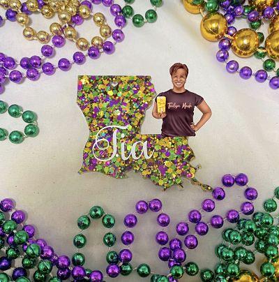 Custom Louisiana Mardi Gras Glitter Glam Keychain