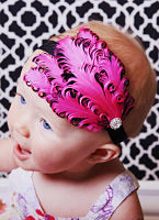 Hot Pink and Black Feather Headband