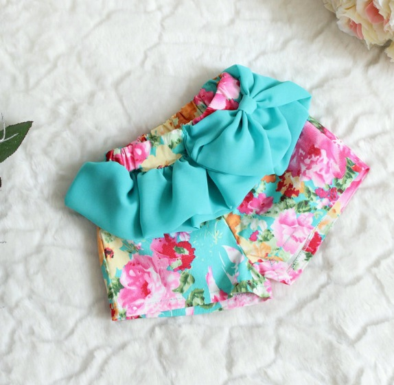 Light Blue Floral Shorts