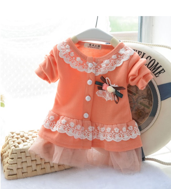 Baby Girls Peach Spring Flower Lace Top